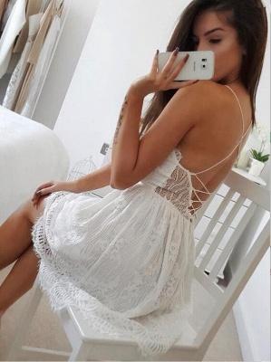 Simple Lace Spaghetti Strap Short Sleeveless Homecoming Dress_4