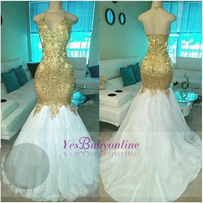 Sexy Beading V-neck Gold Mermaid Open-Back Prom Dresses_1