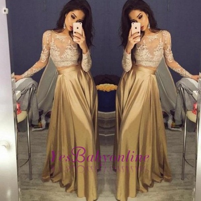 Gold Two-Piece Prom Dresses 2019 Lace Long Sleeves A-line Evening Gowns_1