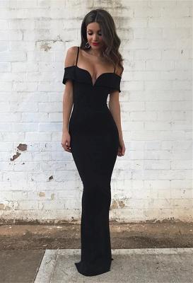 Off-the-Shoulder Mermaid Floor-length Black Modest Prom Dress_2