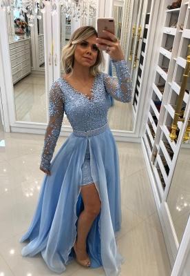Sky Blue Lace Fashion Long-Sleeve Prom Dresses_2
