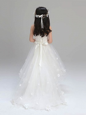 Lovely A-Line Tulle Spaghetti Straps Hi-Lo Sleeveless Flower Girl Dress_3
