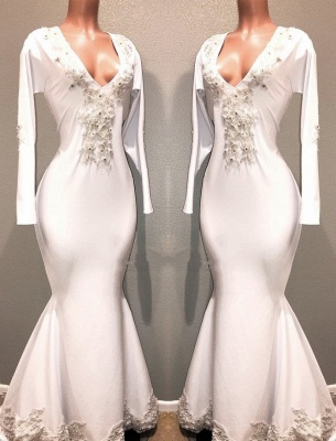 Mermaid White Long Sleeves Evening Dresses | V-Neck Lace Appliques Beaded Prom Dresses_1