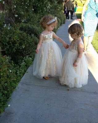Gorgeous Straps Sleeveless Sequined Tulle A-line Flower Girl Dress_5