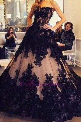 Ball-Gown Tulle Black Strapless Lace New Sleeveless Evening Dresses_3