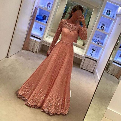 Appliques A-Line Lace Long-Sleeves Newest Prom Dress_3