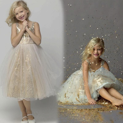 Gorgeous Straps Sleeveless Sequined Tulle A-line Flower Girl Dress_4