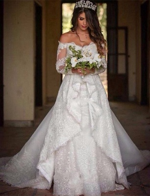Beautiful Off-the-Shoulder Long Sleeves Lace Princess Wedding Dress_2