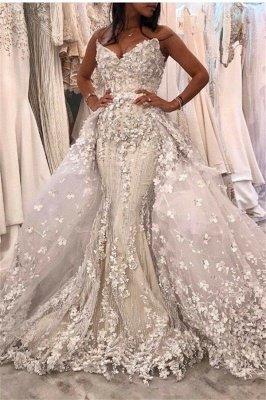 Spaghetti Straps V-neck Lace Appliques Mermaid Detachable Wedding Dresses_1