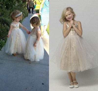 Gorgeous Straps Sleeveless Sequined Tulle A-line Flower Girl Dress_3