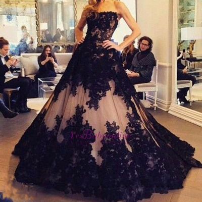 Ball-Gown Tulle Black Strapless Lace New Sleeveless Evening Dresses_1