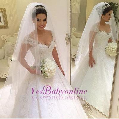 Gown Glamorous Cap Sleeves Beading Ball Wedding Dresses_1