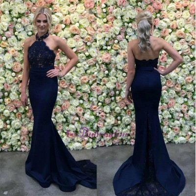 Halter Appliques Gorgeous Lace Long Navy Mermaid Evening Dress_1