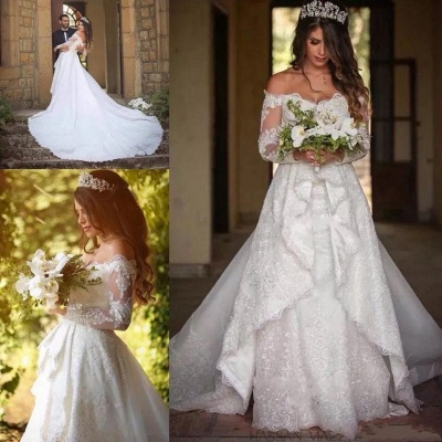 Beautiful Off-the-Shoulder Long Sleeves Lace Princess Wedding Dress_6