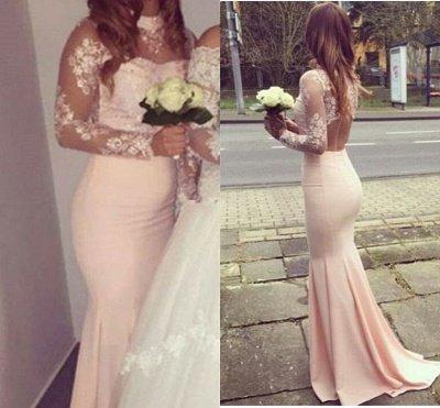 Mermaid Appliques Long-Sleeves High-Neck Glamorous Bridesmaid Dresses_4