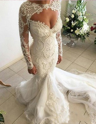 Gorgeous Mermaid Sweetheart Wedding Dresses | Long Sleeve Lace Beadings Bridal Gowns