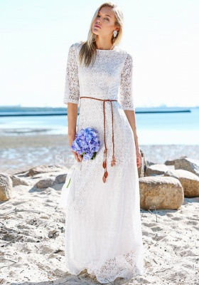 Boho Style Jewel Half Sleeves Floor Lenth Belted Wedding Dresses | Beach Lace Wedding Gowns