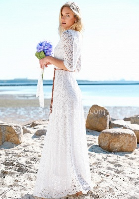 Boho Style Jewel Half Sleeves Floor Lenth Belted Wedding Dresses | Beach Lace Wedding Gowns_2