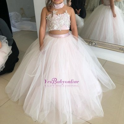 Two-Pieces Pink Flower Tulle Appliques Lovely Sweetheart Girl Dresses_1