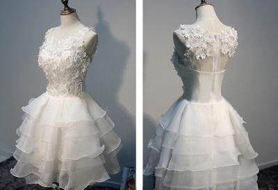 Short  Lace Sleeveless Lace-Appliques Hot Layers White Homecoming Dress_2