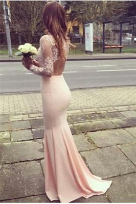 Mermaid Appliques Long-Sleeves High-Neck Glamorous Bridesmaid Dresses_3