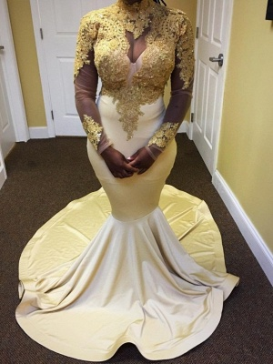 Sexy Long Sleeves Prom Dresses | Gold Appliques Mermaid Evening Gown_1
