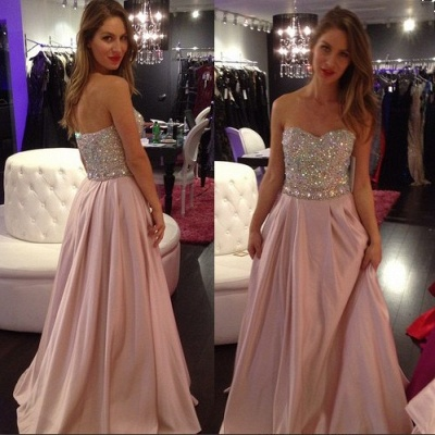 Crystals-Top Sweetheart-Neck Elegant Pink A-line Long Prom Dresses_3