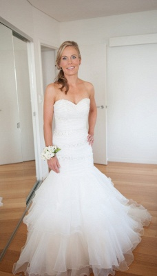 Wedding Gorgeous Mermaid Sweep-Train Lace-up Sweetheart Tulle Beads LDress_3