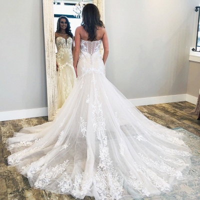 Sexy Sweetheart Backless Applique Fit And Flare Mermaid Wedding Dresses | Tulle Bridal Gown_2