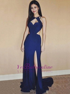 Mermaid Newest Side-Slit Sleevelss Open-Back Prom Dresses_1