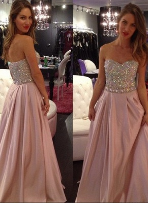 Crystals-Top Sweetheart-Neck Elegant Pink A-line Long Prom Dresses_2