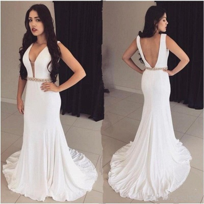 Crystals Sleeveless Bodycon White Modest Straps Prom Dress_3