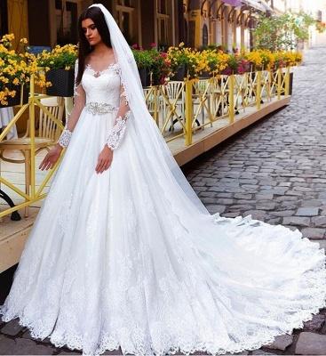 Long Sleeves Crystal Glamorous Lace Princess Wedding Dresses_3