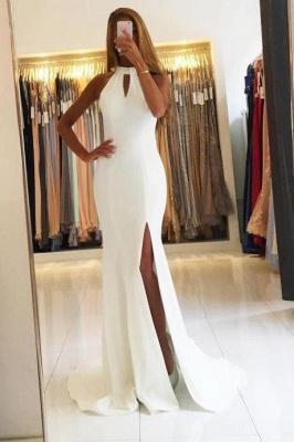 Sleeveless Halter Side-Slit Mermaid Open-Back Simple Evening Dresses_2