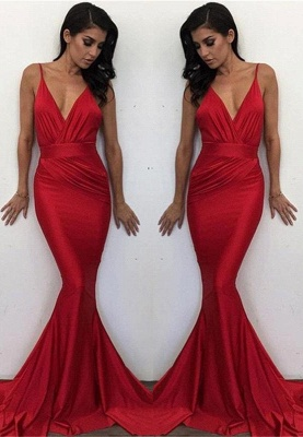 Long Red V-Neck Elegant Mermaid Evening Dress_2