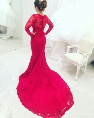 High-Neck Lace Long-Train Long-Sleeves Red Appliques Mermaid Evening Dresses_3