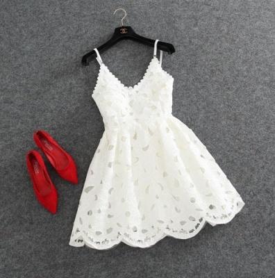Short White Lace Cute Mini Spaghettis-Strap Homecoming Dress_3