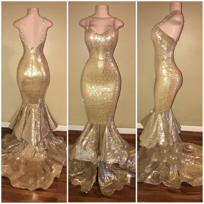 Shiny Gold Spaghettis-Straps Layers-Train Mermaid Sequins Prom Dresses_4