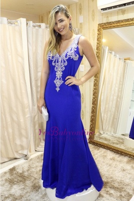 Straps Mermaid Sleeveless Royal-Blue Lace Modern Prom Dress_1