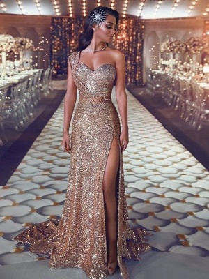 Gorgeous Mermaid Sequins Prom Gowns   One Shoulder Evening Dress With Slit_1