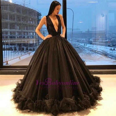 Sparkling Sleeveless Puffy Sequins Sexy Ruffles Deep-V-Neck Black Tulle Evening Gown_1