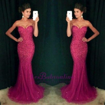 Sweetheart Mermaid Sequins Crystals Sparkly Long Prom Dress_1