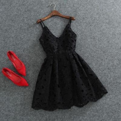 Short White Lace Cute Mini Spaghettis-Strap Homecoming Dress_4