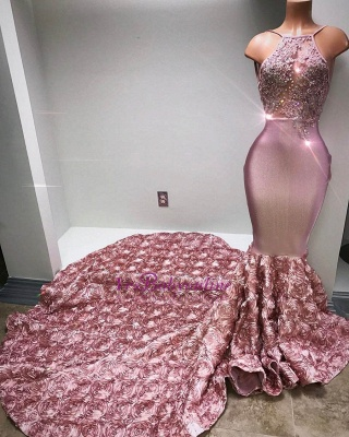 Pink Beaded Luxury Rose-Flowers Mermaid 3D Prom Dress_3