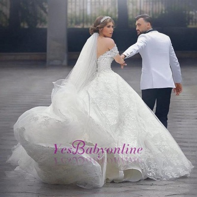 Arabic Off-Shoulder Ball-Gown Appliques Sweetheart Lace-Up-Back White Wedding Dress_1