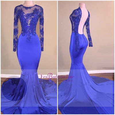 Open-Back Sheer Mermaid Long-Sleeves Shiny Royal-Blue Prom Dresses_1