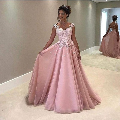 Elegant Pink Prom Dresses Lace Appliques Capped Sleeves A-line Evening Gowns_3