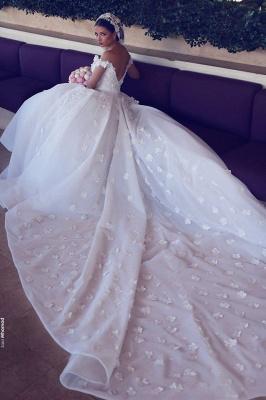 Glamorous Off-the-Shoulder Lace Wedding Dresses | Open Back Appliques Bridal Dresses_4