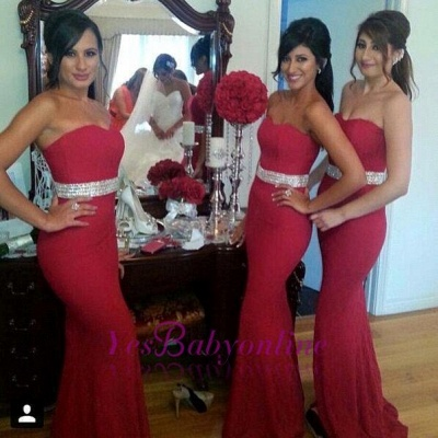 Gorgeous Crystal Mermaid Sweetheart Red Bridesmaid Dress_1