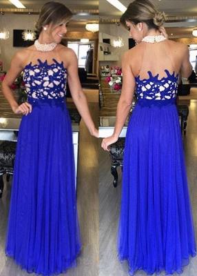 Halter  Gorgeous High-Neck Royal-Blue Beading Long Prom Dresses_2